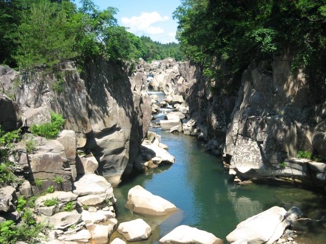 厳美渓の風景