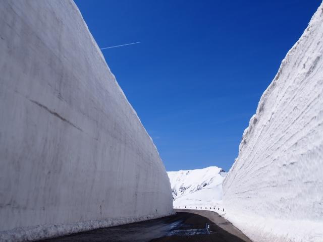 雪の壁の道
