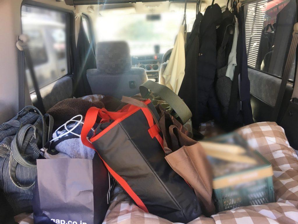 車中泊の荷物